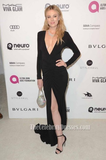 Bar Paly 24th Annual Elton Deep V- neck Evening Dress Long Sleeve Prom Gown 1