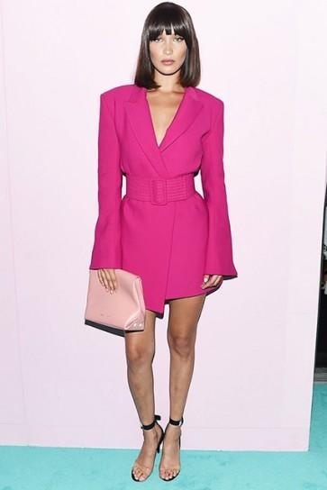 Bella Hadid Pink Belt Blazer dress CFDA Awards