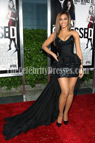 Beyonce Black Strapless Sequined Prom Cocktail Dress