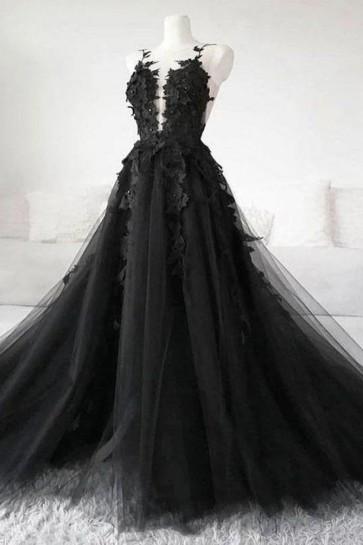 Black Applique V-neck Ball Gown