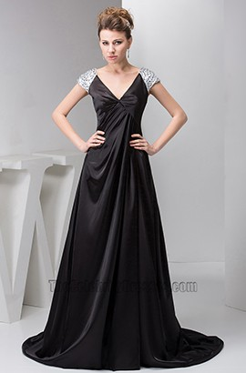 Long Black Cap Sleeves Formal Gown Evening Prom Dresses