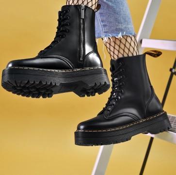 Black Round Toe Platform Combat Boots Side With Zipper