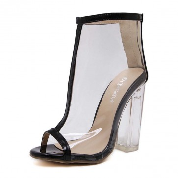 Apricot Fish Head Transparent Sandals Crystal High Chunky Heel Summer Boot