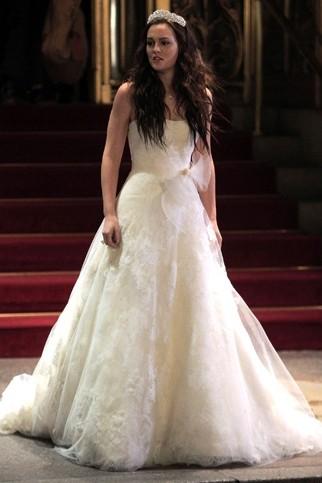 Blair Waldorf White Lace Wedding Dress In Gossip Girl