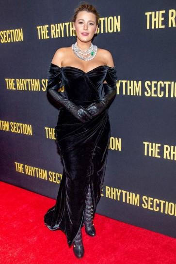 Blake Lively Black Velvet Off-the-shoulder Evening Dress