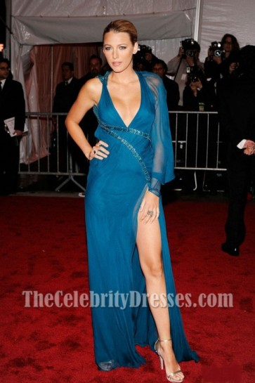 Blake Lively Royal Blue Evening Dress 2009 MET Ball Red Carpet