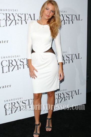 Blake Lively Sexy White Long Sleeve Backless Cocktail Party Dresses