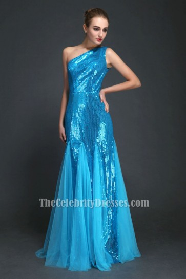 Blue One Shoulder Sequined Prom Dress Evening Gown