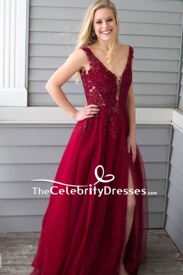 Burgundy Deep V-neck Thigh-high Slit Prom Dress With Applique
