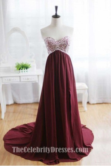 Burgundy Strapless A-Line Beaded Prom Gown Evening Formal Dresses