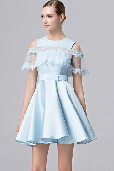 Girls Short Mini Party Dress Blue And Apricot Cocktail Prom Dress 1
