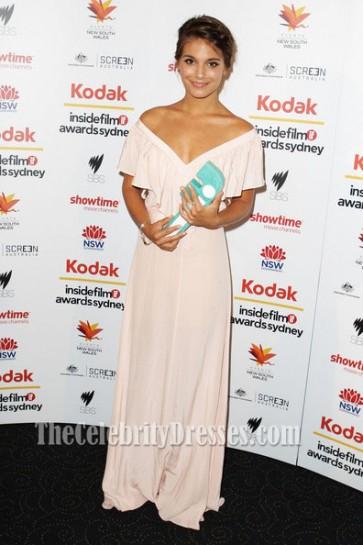 Caitlin Stasey V-Neck Evening Dress 2010 Inside Film Awards Red Carpet