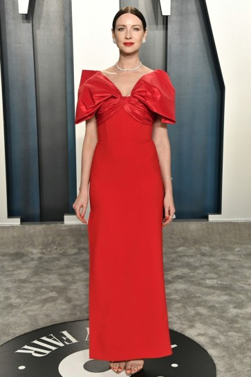 Caitriona Balfe Red Thigh-high Slit Formal Dress 2020 Vanity Fair Oscar Party