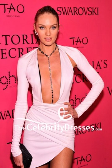 Candice Swanepoel White Sexy Short Wrap Dress With Long Sleeves 2013 Victoria's Secret Fashion Show