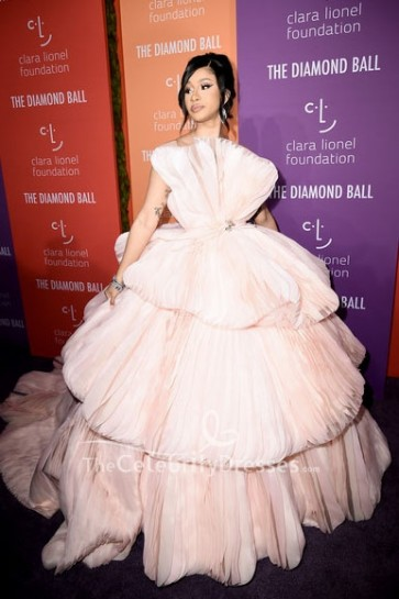 Cardi B Pearl Pink Strapless Princess Gown 2019 Diamond Ball
