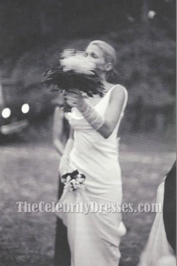 Carolyn Bessette-Kennedy white evening Wedding Dress Ivory Slip Cowl Neckline