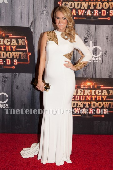 Carrie Underwood White One Sleeve Maternity Evening Dress  2014 American Country Countdown Awards