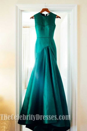 Celebrity Inspired Hunter Sleeveless Prom Dress Evening Formal Gown