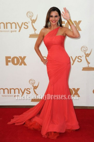 Celebrity Dresses Sofia Vergara One Shoulder Prom Gown Formal Evening Dress 2011 Emmy Awards