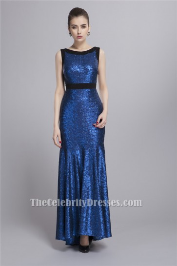 Celebrity Inspired Dark Royal Blue Sequined Evening Dress Formal Gowns TCDBF022