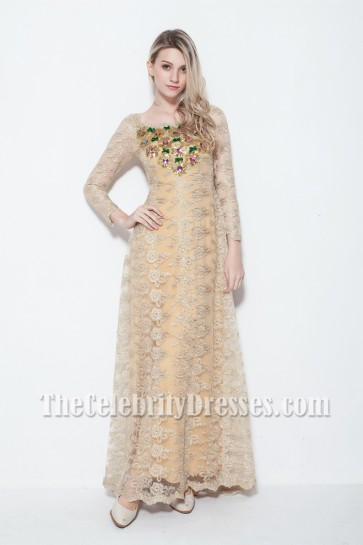 Celebrity Inspired Long Sleeve Lace Prom Gown Evening Dress