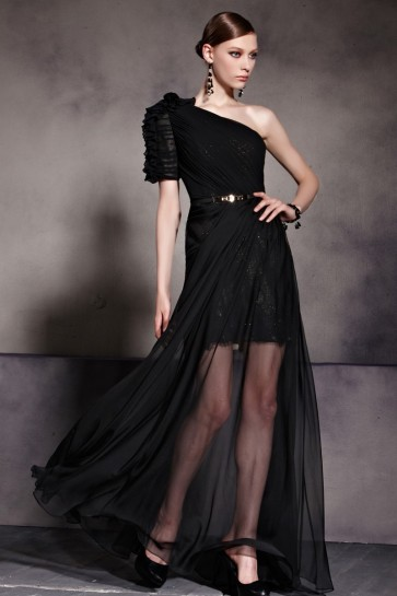 Celebrity Inspired One Shoulder Black Prom Gown Evening Dress