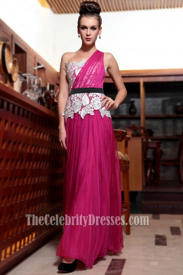 Celebrity Inspired One Shoulder Formal Dress Prom Evening Gown