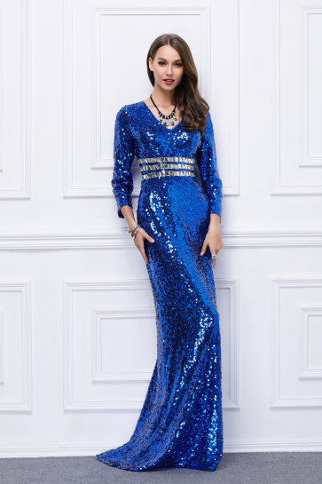 Celebrity Inspired Royal Blue Sequins Formal Evening Dress TCDBF454