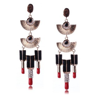 Celebrity Inspired Sector Lipstick Drop Earrings TCDE0045