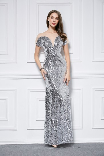 Celebrity Inspired Silver Sequins Short Sleeve Evening Dress TCDBF446