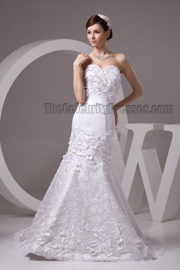 Celebrity Inspired Strapless Sweetheart Mermaid Lace Up Wedding Dress