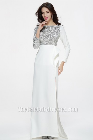 Celebrity Inspired White Long Sleeve Formal Dress Evening Gowns