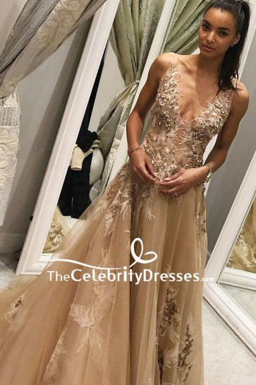 Champagne Deep V-neck Tulle Wedding Ball Dress With Appliques
