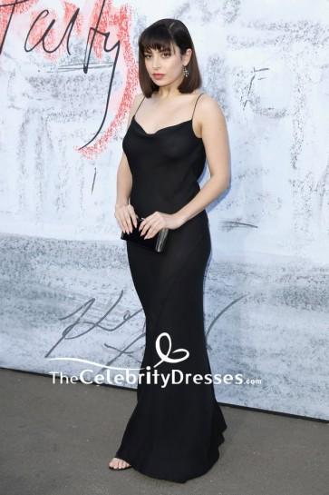 Charli XCX Black Sheer Spaghetti Straps Dress Serpentine Summer Party 2018
