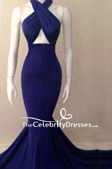 Cheap Blue Halter Cut Out Mermaid Prom Dress