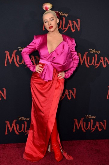 Christina Aguilera Two-tone Evening Dress World Premiere Of 'Mulan'