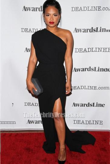 Christina Milian Black One-shoulder High Slit Red Carpet Evening Dress Deadline Emmy Party 2