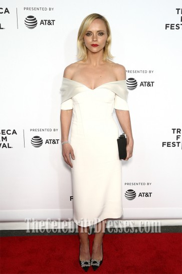 Christina Ricci White Off-the-Shoulder Prom Gown Opening Night of the 2017 Tribeca Film Festival