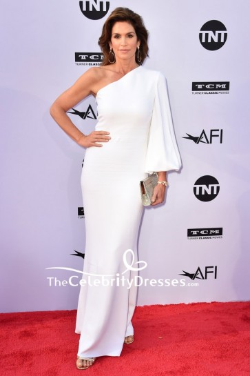 Cindy Crawford White One-Shoulder Evening Formal Dress 018 AFI Life Achievement Award Gala