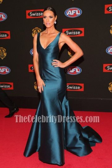 Clementine Mcveigh Deep Blue V-neck Long Mermaid  Evening Prom Gown 2015 Brownlow Medal  3