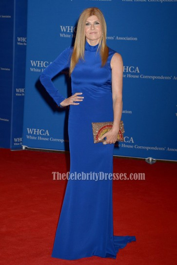 Connie Britton Blue Single-sleeve Long Evening Prom Gown 2016 White House Correspondents' Association Dinner 4