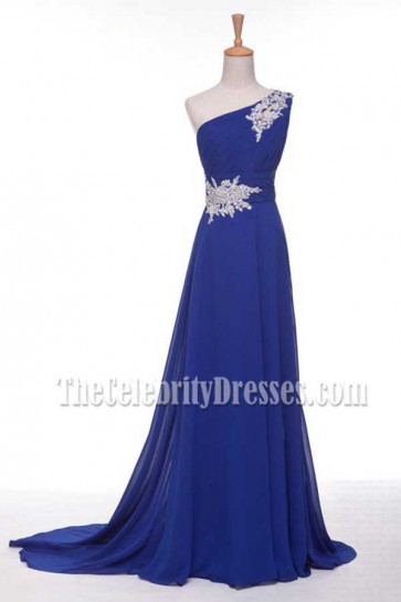 Custom Made Royal Blue One Shoulder Evening Dress Prom Gown