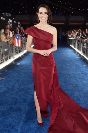 Daisy Ridley Burgundy One-shoulder Formal Dress