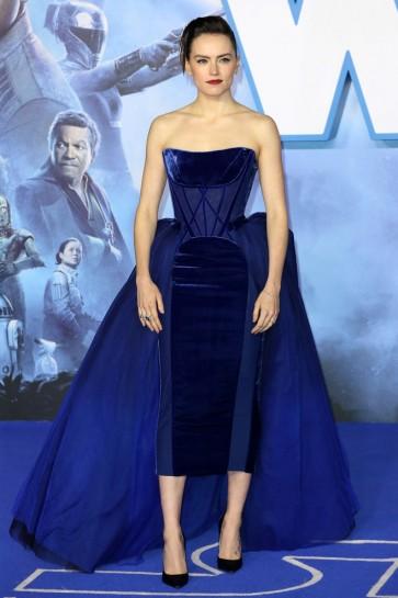 Daisy Ridley Royal Blue Strapless Corset Velvet Formal Dress