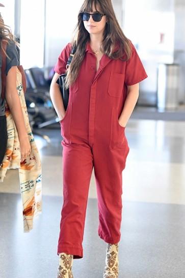 Dakota Johnson Red Working Style Jumpsuit with Pockets
