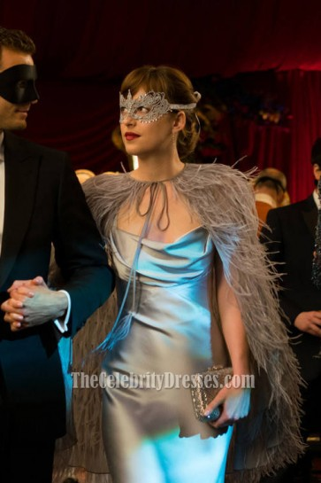 Dakota Johnson Silver Prom Evening Dress Masque Ball In Movie Fifty Shades Darker