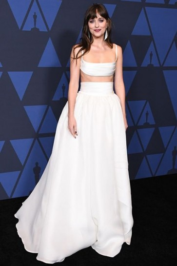Dakota Johnson White Two Pieces Ball Gown Governor's Awards