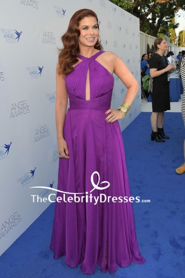 Debra Messing chose a long purple sexy cutout gown for the 2018 Angel Awards.