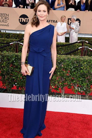 Diane Lane Navy One Shoulder Evening Dress 2016 SAG Awards 3