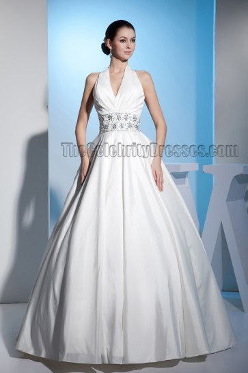 Discount Floor Length A-Line Halter Beaded Wedding Dresses